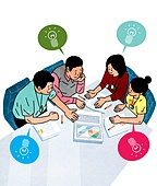 비즈니스, 화이트칼라 (전문직), 스타트업 (소기업), 협력 (컨셉), 팀워크 (협력), 비즈니스맨, 비즈니스우먼, 희망, 탑앵글 (뷰포인트), 아이디어, 회의실