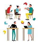 패턴, 라이프스타일, 책, 읽기 (응시), 휴가 (주제), 휴식 (정지활동), 토론, 테이블