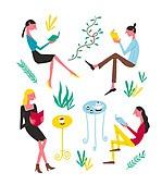 패턴, 라이프스타일, 책, 읽기 (응시), 휴가 (주제), 휴식 (정지활동), 식물, 티포트 (그릇), 커피테이블 (테이블), 여성 (성별)