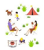 패턴, 라이프스타일, 책, 읽기 (응시), 휴가 (주제), 휴식 (정지활동), 텐트, 캠핑, 가족