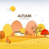 가을, 백그라운드, 종이 (재료), 단풍 (가을), 나무, 풍경 (컨셉), 집, 언덕