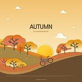 가을, 백그라운드, 종이 (재료), 단풍 (가을), 나무, 풍경 (컨셉), 일몰 (땅거미), 태양, 언덕, 자전거
