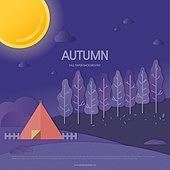 가을, 백그라운드, 종이 (재료), 단풍 (가을), 나무, 풍경 (컨셉), 밤 (시간대), 보름달, 텐트
