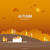 가을, 백그라운드, 종이 (재료), 단풍 (가을), 나무, 풍경 (컨셉), 일몰 (땅거미), 태양, 집, 언덕