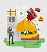 안전, 캠페인, 라이프스타일, 안전모, 헬멧, 건물외관 (건설물), 건설현장, 벽돌
