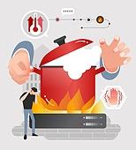 안전, 캠페인, 라이프스타일, 냄비, 뜨거움, 온도계