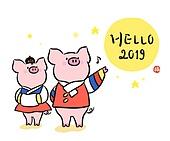 캐릭터, 돼지 (발굽포유류), 새끼돼지 (새끼), 2019년, 돼지띠해 (십이지신), 돼지띠해, 캘리그래피 (문자), 한복, 황금돼지띠, 보름달