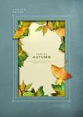 포스터, 자연 (주제), 프레임, 액자 (예술도구), 가을, 낙엽, 잎, 은행잎 (잎)