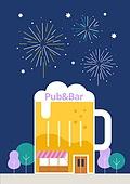 맥주, 라이프스타일, 여름, 밤 (시간대), 불꽃놀이, 맥주잔