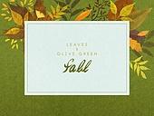 가을, 색연필, 자연 (주제), 백그라운드, 잎, 낙엽, 프레임