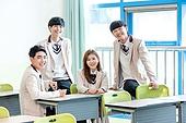 학교생활, 교복 (유니폼), 휴식 (정지활동), 미소, 고등학생