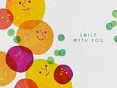 얼굴표정 (커뮤니케이션컨셉), 미소 (얼굴표정), 백그라운드, 웃음, 함께함 (컨셉), 원형 (이차원모양)