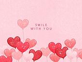얼굴표정 (커뮤니케이션컨셉), 미소 (얼굴표정), 백그라운드, 웃음, 함께함 (컨셉), 분홍, 하트, 풍선