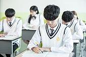 고등학생, 교실, 대학수학능력시험 (시험), 남학생
