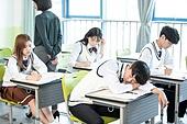 고등학생, 교실, 대학수학능력시험 (시험), 잠, 피로 (물체묘사)
