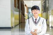 고등학생, 복도 (건물의부분), 교복, 미소, 남학생, 공부
