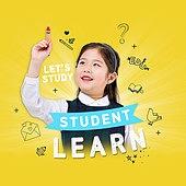 그래픽이미지 (Computer Graphics), 합성, 웹배너 (인터넷), 교육 (주제), 학교건물 (교육시설), 학원, 공부, 초등학생, 소녀