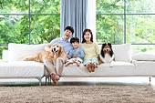 가족, 집 (주거건물), 애완동물 (길든동물), 골든리트리버 (리트리버), 함께함 (컨셉), 거실, 미소, 행복