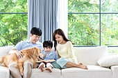 가족, 집 (주거건물), 애완동물 (길든동물), 골든리트리버 (리트리버), 함께함 (컨셉), 거실, 미소, 책, 읽기 (응시)