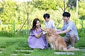 가족, 집 (주거건물), 애완동물 (길든동물), 함께함 (컨셉), 미소, 걷기 (물리적활동), 골든리트리버 (리트리버), 쓰다듬기 (만지기), 하이파이브