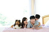 가족, 집 (주거건물), 애완동물 (길든동물), 함께함 (컨셉), 거실, 미소, 침실, 아이패드, 인터넷서핑 (격언), 셔틀랜드쉽독 (콜리), 엎드림 (눕기)