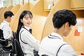 고등학생, 교복, 독서실, 공부 (움직이는활동), 수험생, 여학생, 미소