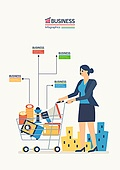 비즈니스, 화이트칼라 (전문직), 비즈니스우먼, 쇼핑카트, 메가폰 (정보장비), 금융