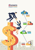 비즈니스, 화이트칼라 (전문직), 비즈니스맨, 비즈니스우먼, 달러기호, 금융, 협력, 팀워크