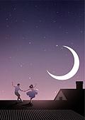 환상 (컨셉), 동화, 백그라운드, 사람, 상상력 (컨셉), 밤 (시간대), 커플, 춤, 초승달, 지붕 (건물의부분)