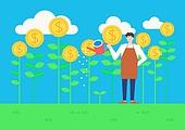 라이프스타일, 청년 (성인), 금융, 비즈니스, 자산관리, 금융 (주제), 달러기호, 달러 (화폐), 앞치마, 물뿌리개, 구름