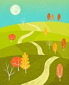 백그라운드 (주제), 가을, 계절, 자연 (주제), 자연풍경 (풍경), 언덕, 초원 (자연의토지상태), 나무, 단풍 (가을), 보름달