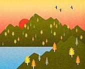 백그라운드 (주제), 가을, 계절, 자연 (주제), 자연풍경 (풍경), 산, 일몰 (땅거미), 태양 (하늘), 조류 (척추동물)