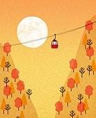 백그라운드 (주제), 가을, 계절, 자연 (주제), 자연풍경 (풍경), 일몰 (땅거미), 태양 (하늘), 케이블카