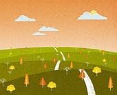 백그라운드 (주제), 가을, 계절, 자연 (주제), 자연풍경 (풍경), 언덕, 초원 (자연의토지상태), 구름, 일몰 (땅거미)