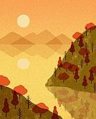 백그라운드 (주제), 가을, 계절, 자연 (주제), 자연풍경 (풍경), 일몰 (땅거미), 강, 산, 나무, 단풍 (가을)