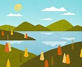 백그라운드 (주제), 가을, 계절, 자연 (주제), 자연풍경 (풍경), 산, 강, 구름, 나무, 단풍 (가을)