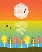 백그라운드 (주제), 가을, 계절, 자연 (주제), 자연풍경 (풍경), 태양, 배 (교통), 나무, 일몰 (땅거미)