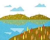백그라운드 (주제), 가을, 계절, 자연 (주제), 자연풍경 (풍경), 하늘, 구름, 단풍 (가을)