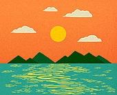 백그라운드 (주제), 가을, 계절, 자연 (주제), 자연풍경 (풍경), 일몰 (땅거미), 구름, 바다, 섬