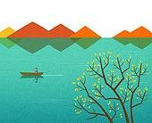 백그라운드 (주제), 가을, 계절, 자연 (주제), 자연풍경 (풍경), 산, 강, 나무, 단풍 (가을)