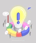 인포그래픽, 그래프, 픽토그램, 비즈니스, 말풍선, 아이디어, 전구, 느낌표