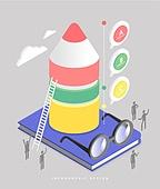 인포그래픽, 그래프, 픽토그램, 비즈니스, 말풍선, 교육 (주제), 안경, 연필, 책
