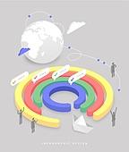 인포그래픽, 그래프, 픽토그램, 비즈니스, 말풍선, 지구 (행성), 종이배, 글로벌