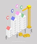 인포그래픽, 그래프, 픽토그램, 비즈니스, 아파트, 집, 크레인, 달러 (화폐)