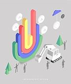 인포그래픽, 그래프, 픽토그램, 비즈니스, 말풍선, 포크레인, 태엽
