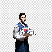 PNG, 누끼, 전통문화 (주제), 한복, 한국인, 남성, 태극기, 부채 (액세서리)