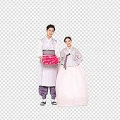 PNG, 누끼, 전통문화 (주제), 한복, 한국인, 추석 (한국명절), 선물상자 (상자), 남성, 여성