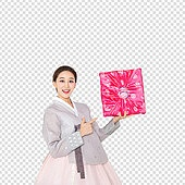 PNG, 누끼, 전통문화 (주제), 한복, 한국인, 추석 (한국명절), 선물상자 (상자), 여성