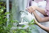 여성, 귀촌, 정원, 흩뿌리기 (움직이는활동), 미소, 가족, 물뿌리개 (원예장비)