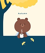 가을, 캐릭터, 곰, 배너